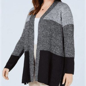 Karen Scott Plus Size Colorblock Cardigan